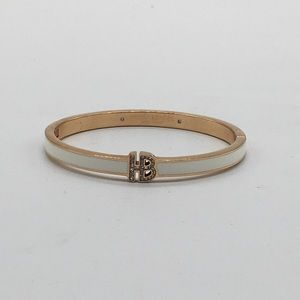 Henri Bendel White Gold Hinged Bracelet Bangle